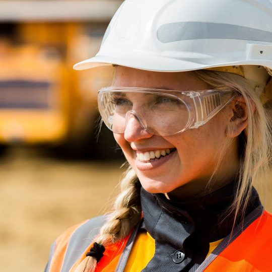 Woman in hard hat